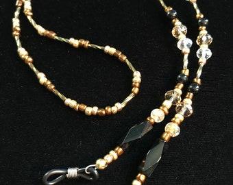 Beaded Eyeglass Holder, Eyeglass Necklace, Eyeglass Loop, Eyeglass Lanyard, Glasses Chain, Black, Gold, Copper, Crystal Color