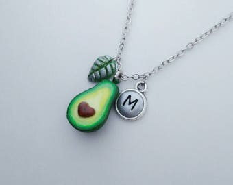 x1 Avocado halve, avocado necklace, heart seed, heart pit, personalised, Miniature food, for bestfriend, bff, sister, partner, fun accessory
