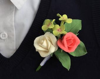 Wedding Boutonniere Buttonhole Boutonniere Grooms boutonniere Flower boutonniere White boutonniere Wedding buttonhole Flower buttonhole