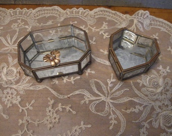 Vintage Glass Jewelry Boxes - Mirrored Boxes - Trinket Boxes - Etched Boxes - Heart Box - Home Decor