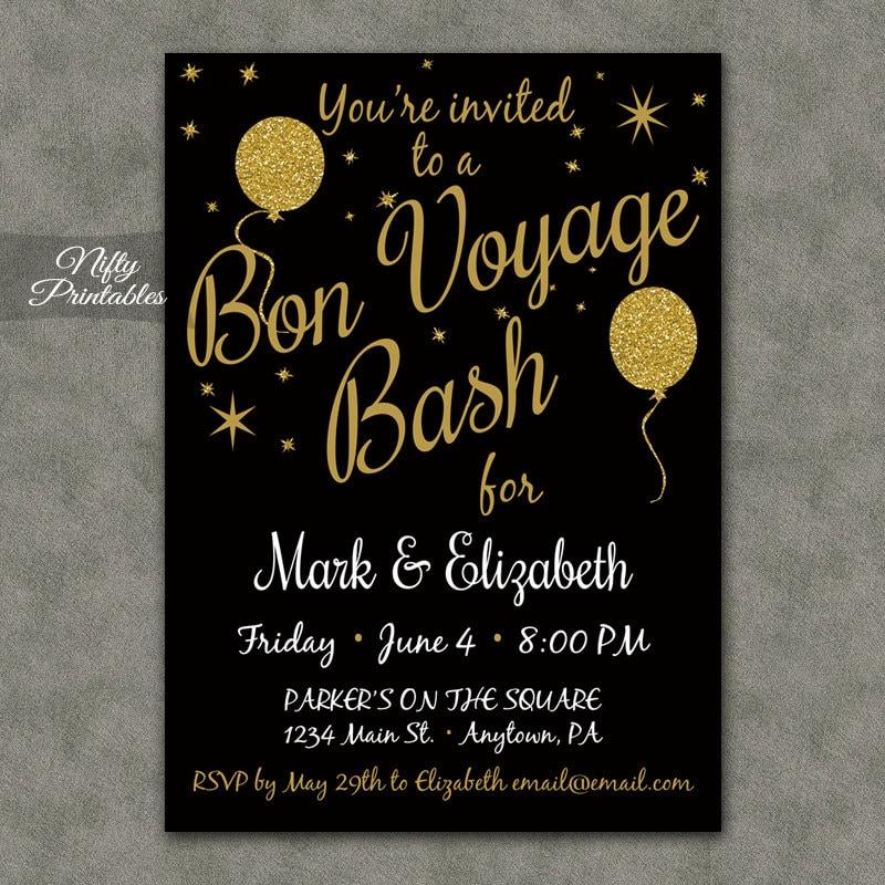 Bon Voyage Invitations Printable Black & Gold Bon Voyage