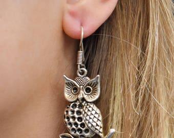 Silver Owl Earrings, Statement Silver Earrings, Whimsical Owl Earrings, Owl on Tree Branch Earrings, Owl Lover Gift, Unique Owl Earrings