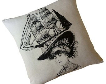 Lady in Fancy Hat silkscreened cotton canvas throw pillow 18 inch square
