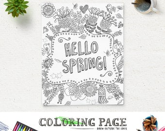Printable Coloring Page Hello Spring DIY Printable Quote Instant Download Digital Art Printable Coloring Pages Anti Stress Art Therapy Zen