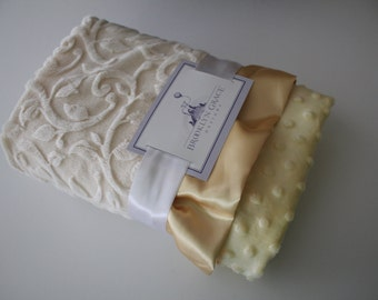 Ivory Embossed Vine with Pastel Yellow Minky Dot Blanket Finished with a soft coordinating Satin Ruffle Trim - Baby Blanket, Crib Bedding