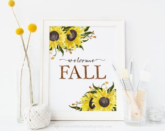 Welcome Fall Watercolor Sunflowers Printable Wall Art Autumn Print Watercolor Sunflower Printable Floral Fall Decor Art Thanksgiving Decor