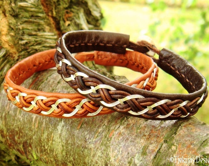 Shieldmaidens and Vikings Brown Leather and Silver Bracelet Cuff