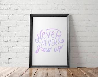 Nursery Decor, Nursery Printable, Nursery Art Print, Nursery Wall Art, Peter Pan Printable, Lettering Printable, Never Never Grow Up