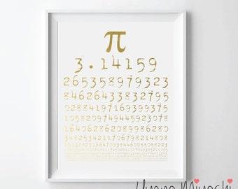 Pi Chart Gold Foil Print, Gold Print, Custom Print in Gold, Art Print, Mathematics Gold Foil Art Print, Math Print, π Chart Gold Print