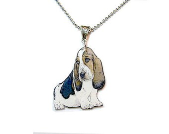 Handcrafted Plastic Basset Hound Necklace Pendant