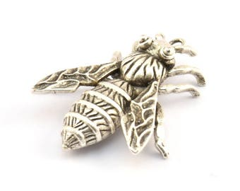 Huge Bee Pendant, 1 Antique Silver Plated Brass Bug Aryan Insect Charm Pendant (41x34mm) N350 H401