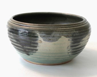 Wood Fired. Stoneware Pottery Bowl. Large. Light Jade Green. Cool Earth Tones. Wheel Thrown. Earthy. Rustic.  OOAK