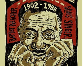 Son House Poster- signed by Grego - digital - blues folk art - Delta Blues guitar