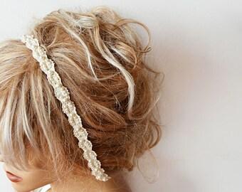 Rustic Wedding Hair Accessory, Pearl Wedding Headband, Bridal  Pearl Headband, Bridal Hair Accessory, Lace pearl Hair