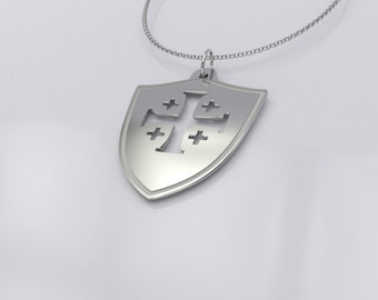 Crusader Shield Pendant Necklace - Templar Shield Necklace - .925 Sterling Silver Crusader Jewelry
