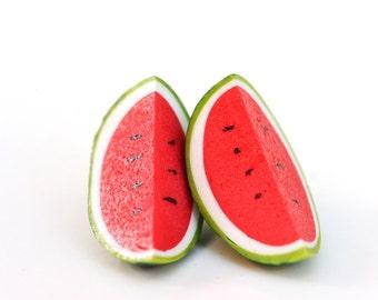 Watermelon studs - watermelon earrings - fruit studs - fruit earrings - Watermelon slices : Fruit Salad -  stud earrings - summer studs