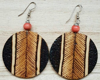 Natural, recycled, woodburn, boho earrings