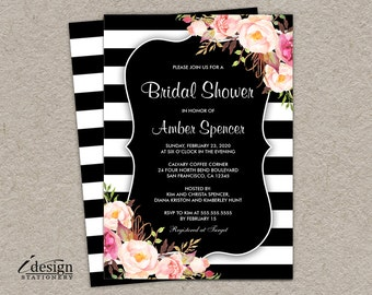 Floral Bridal Shower Invitation | Printable Wedding Shower Invitations | Botanical Invite | Black White Striped Bridal Lunch Brunch