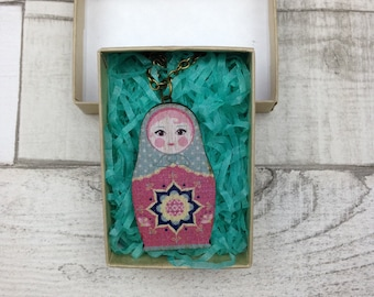 Light blue and pink Russian Doll Babushka necklace