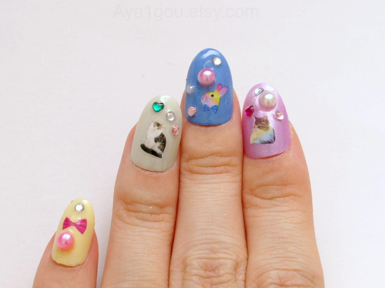 3D nails fake nails pastel fairy kei nails kawaii nails