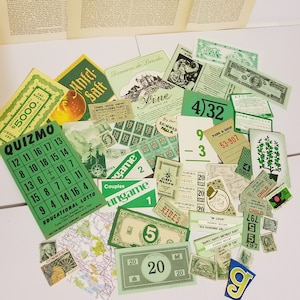 35 pieces of green ephemera Vintage paper supplies color lot sample pack play money game cards postage stamps labels paper art scrap G 1x