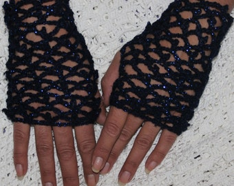 Midnight Sky Keyhole Scarf and Fingerless Mittens Crochet Pattern