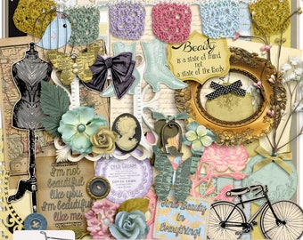 Vintage Beauty Digital Scrapbook Kit