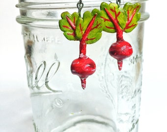 Beet Dangle Earrings ~ Handmade!