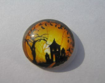 Cabochon 20 mm round domed with his image of House haunted Halloween