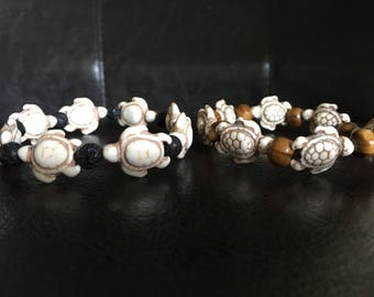 Hawaiian Lava Rock and Bead Turtle Bracelet