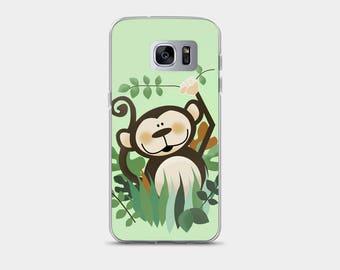 Cute Jungle Monkey Samsung 7 Case or Samsung 8 Case, Monkey Phone Snap Case