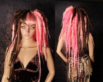 Tea Party Vampire Dread Wig, big dread locks, Halloween costume, long pink brown Gothic dreadlocks, cosplay hair, Tribal Belly Dance