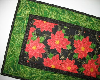 Christmas Table Runner, Poinsettias, quilted, handmade, fabric Quilting Treasures