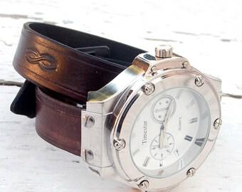 Mens Leather watch,  Men Wrist Watch, Leather cuff watch, Sport watch,