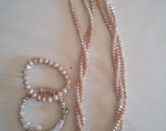 Light pink crystal set,pink bracelets, handmade crystal necklace,Christmas gift,gift for her,pink beads necklace, beaded pink necklace