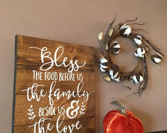 """Bless The Food Before Us Wood Sign - Kitchen Decor - Farmhouse Sign - Rustic Wood Sign - Pallet Sign - Stained Wood Sign - 12"""" x 14"""""""
