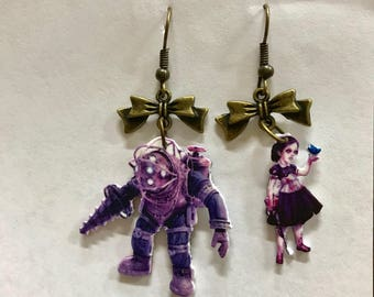 Bioshock Big Daddy Little Sister earrings