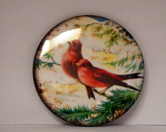 Pocket Mirror Red Birds Cardinals 2 1/4 inches