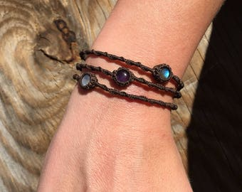 Triple layer moonstone, amethyst, and labradorite bracelet!