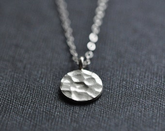 Small Silver Necklace - Hammered Sterling Silver Disc Necklace - Sterling Silver Circle Necklace - Simple Everyday Necklace