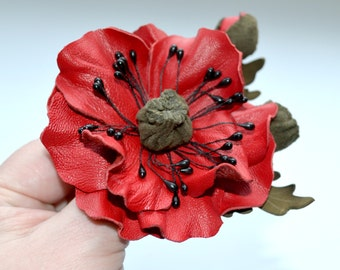brooch leather red poppy flower brooch handmade Fairytale gift  brooch Gift for mother woman red poppy flower brooch gift for mother day