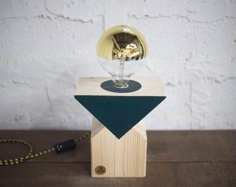 Green KENAI lamp. Wood, design, handmade, Led vintage mirror bulb, lamp, Woodlamp, Designlamp.