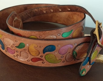 Hand-Painted Paisley Leather Guitar Strap
