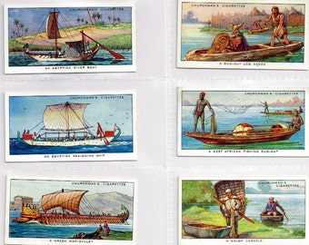 British Cigarette Card Set  50 Cards - The Story of Navigation, (Ships & Boats) Issued 1937 by Churchmans Cigaretees.