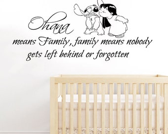 Lilo Stitch Wall Decals Quote Ohana Family Means Nobody Gets Left Behind Or Forgotten Vinyl Decal Sticker Kids Nursery Baby Room Decor KG866