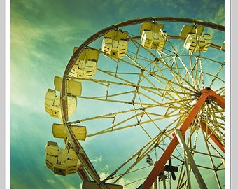 Photography print , Large Wall Art, Colorful, Summer, Ferris Wheel, Fair, Carniva l, 5x5 and larger print