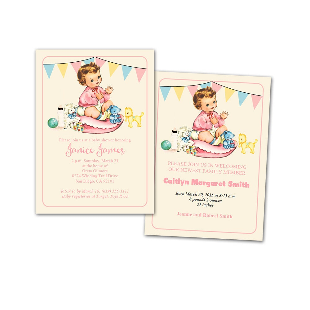 DIY vintage baby girl shower invitation / baby announcement