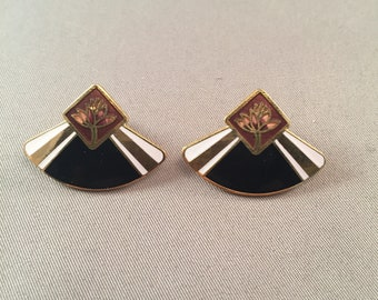 Vintage Laurel Burch Enamel Fan Design Earrings, Vintage Laurel Burch Stud Earrings, Elegant Laurel Burch Earrings, Laurel Burch *USA ONLY*
