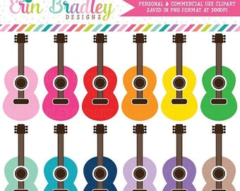 80% OFF SALE Guitar Clipart Graphics Music Clip Art Personal & Commercial Use OK