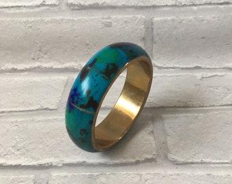 Vintage Brass Bangle Blue Black Green Ink-spots Unusual